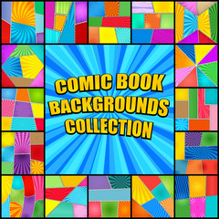 Bright comic book backgrounds collection