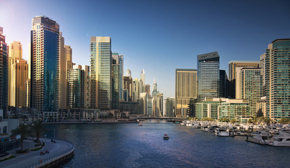 Dubai Marina at sunset. UAE