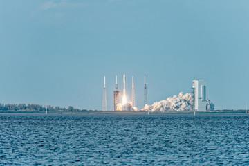 NASA rocket lifting off from pad