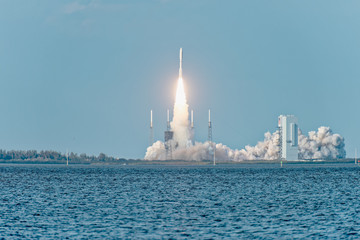 United Launch Alliance Atlas V successfully launches GOES-S on March 1, 2018. View from NASA Causeway