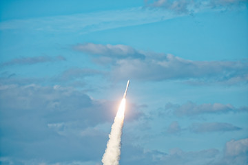 NASA rocket launched and climbing into the clouds