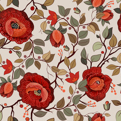 Fotobehang Botanisch Colorful floral pattern. Vector wallpaper with big illustration flowers. Hand drawn plants, roses