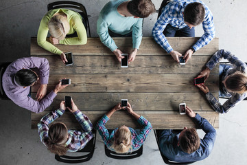 People team with mobile phones
