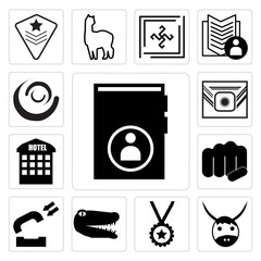 Set of guestbook, yak, perks, gator, inbound, fist bump, accomodation, Airforce, swish icons