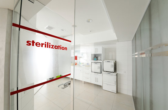 Room for sterilizing instruments in a modern clinic. Surgery, operating room.