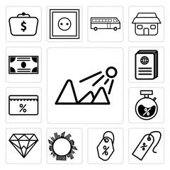 Set of Sun shining, Discount tag arrow, Price tag, Al lot building circle Earth, Diamond, Discount, Passport, Money icons