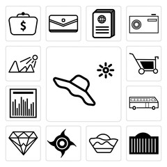 Set of Hat and sun, City building, Bucket line, Industrial saw, Diamond, Bus, Statistics graph, Shopping, Sun shining icons