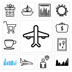 Set of Airplane, City skyline and building, Map pointer with man line, Wall poster or frame smile, Tea coffee cup, Money in bag, Shopping icons