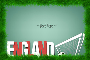 Frame. England and a soccer ball at the gate