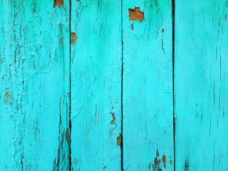 Blue Wood texture. Old shabby painted panels fence background. Old wood planks texture