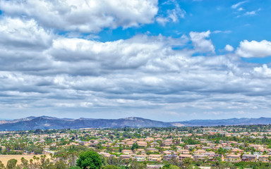 White clouds cover eastern boundary of California inland empire