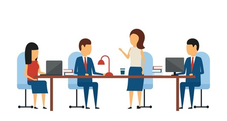 Business concept. Business meeting. In a simple style. Brainstorming office staff at the same table. Flat style on white background.
