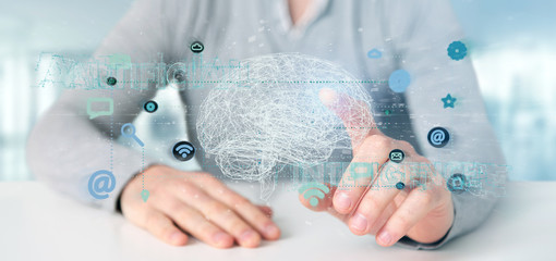 Man holding a 3d rendering artificial intelligence concept with a brain and app