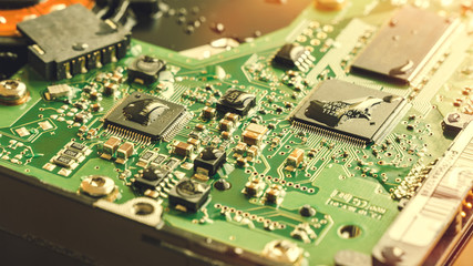 Circuit Board, Electronic Semiconductor Parts Covered in Water Droplets
