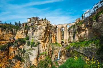 the famous stone bridge over the gorge of tajo in Ronda, Andalusia, Spain