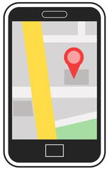 Map on a cellphone vector image
