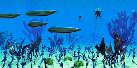 Cambrian Seas - Four Pikaia predatory arthropods search for prey in the clear waters of a Cambrian Seas of Canada.