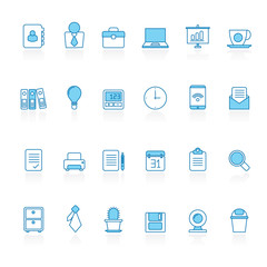 Line with blue background  Business and office icons - vector icon set