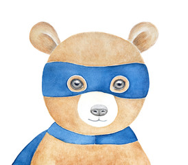 Cute brown teddy bear wearing blue superhero mask. Happy, smiling, soft. Hand painted water color drawing on white background, isolated. Children room art poster, greeting card, printable decoration.