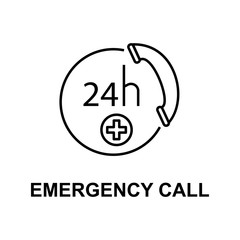emergency call icon. Element of treatment with name for mobile concept and web apps. Thin line emergency call icon can be used for web and mobile. Premium icon
