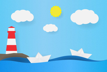 Origami boat on the waves. Paper ship background with lighthouse on the shore, clouds and sun. Vector illustration of beacon.