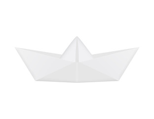 Realistic white origami boat. Folded paper ship. Isolated vector.
