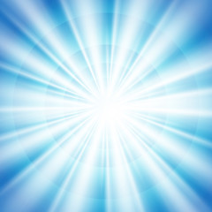Abstract of blue sky with sun burst in center background. Designing with bright light in blue sky. Illustration vector eps10
