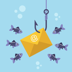 Email envelope on fishing hook