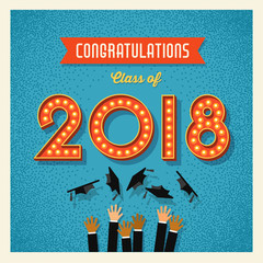 2018 graduation card or banner design with vintage light bulb sign numbers. Vector illustration.