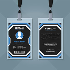 Modern Blue and Black ID Card Template