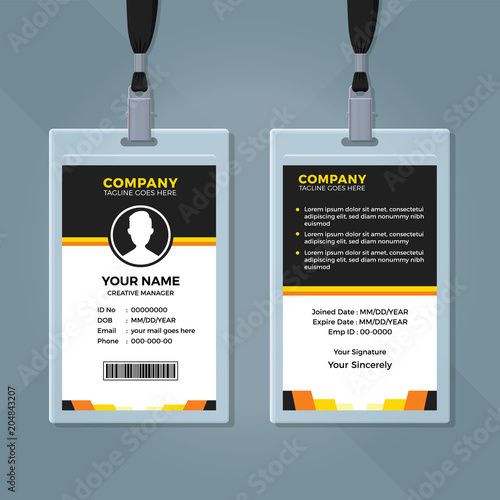 clean and simple employee id card template stock image and royalty