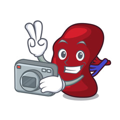 Photographer spleen mascot cartoon style