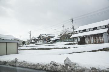 Winter village with snowy