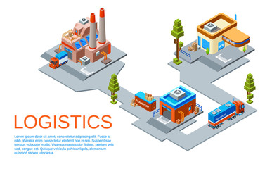Vector isometric logistics and transportation business concept. Route from goods manufacturing plant to transit warehouse and to the market store provided by cargo trucks of delivery service.