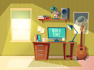 Vector cartoon illustration of empty home office, modern interior with furniture, computer, books, coffee cup. Workplace concept, cozy room for freelance job and education