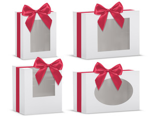 Vector realistic set of empty gift boxes with red silk bows and with transparent windows isolated on background. Mockup with cardboard or paper white packages for presents or various goods