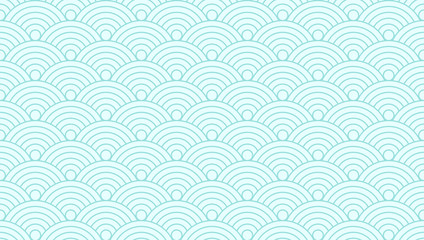 Pattern seamless circle abstract wave background green aqua color and line. Japanese circle pattern vector.
