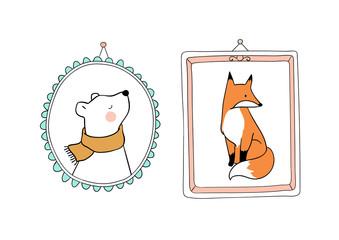 Cute draw vector illustration portrait bear and fox in vintage frame for autumn season Doodle cartoon style