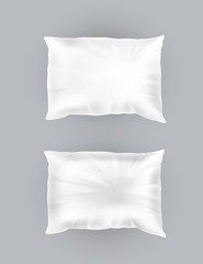 Vector 3d realistic comfortable square pillows. Template, mock up of white fluffy crumpled cushion for relaxation, sleep, nap, bedding, rest.