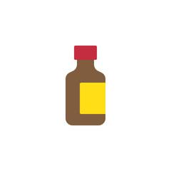 Medicine bottle flat icon, vector sign, colorful pictogram isolated on white. Cough medical syrup symbol, logo illustration. Flat style design