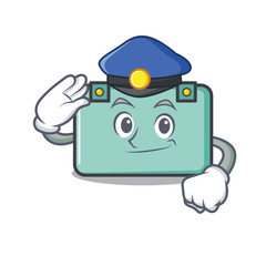 Police suitcase character cartoon style