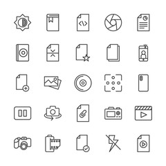 Modern Simple Set of video, photos, bookmarks, files Vector outline Icons. Contains such Icons as  file, check,  disc,  flash,  education and more on white background. Fully Editable. Pixel Perfect.