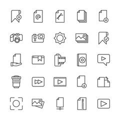 Modern Simple Set of video, photos, bookmarks, files Vector outline Icons. Contains such Icons as image,  concept,  cameraman,  folder, add and more on white background. Fully Editable. Pixel Perfect.