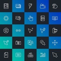 Modern Simple Set of mobile, video, photos, cursors Vector outline Icons. Contains such Icons as  wireless,  communication,  3g and more on dark and gradient background. Fully Editable. Pixel Perfect.