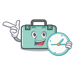 With clock suitcase character cartoon style