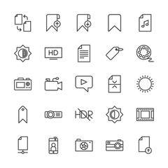 Modern Simple Set of video, photos, bookmarks, files Vector outline Icons. Contains such Icons as  tv,  concept, selfie,  internet,  paper and more on white background. Fully Editable. Pixel Perfect.