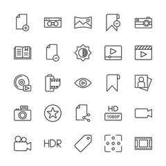 Modern Simple Set of video, photos, bookmarks, files Vector outline Icons. Contains such Icons as  file,  quality,  light,  lens,  sale, hd and more on white background. Fully Editable. Pixel Perfect.