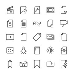 Modern Simple Set of video, photos, bookmarks, files Vector outline Icons. Contains such Icons as sheet,  bookmark,  space, dark, bookmark and more on white background. Fully Editable. Pixel Perfect.