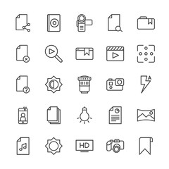 Modern Simple Set of video, photos, bookmarks, files Vector outline Icons. Contains such Icons as  tag,  cd,  high, panorama,  report, hd and more on white background. Fully Editable. Pixel Perfect.