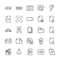 Modern Simple Set of video, photos, bookmarks, files Vector outline Icons. Contains such Icons as  light, hdr, change,  delete, bulb, file and more on white background. Fully Editable. Pixel Perfect.